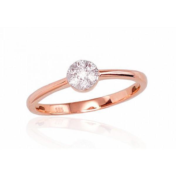 """Zelta gredzens ar briljantiem """"Grācija II"""" no 585 proves sarkanā zelta"""