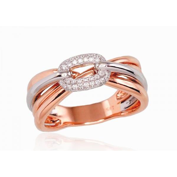 "Zelta gredzens ar briljantiem ""Omega"" no 585 proves sarkanā zelta"