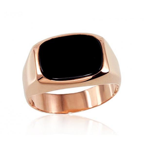 """Vīriešu zelta gredzens ar oniksu """"Barons"""" no 585 proves sarkanā zelta"""