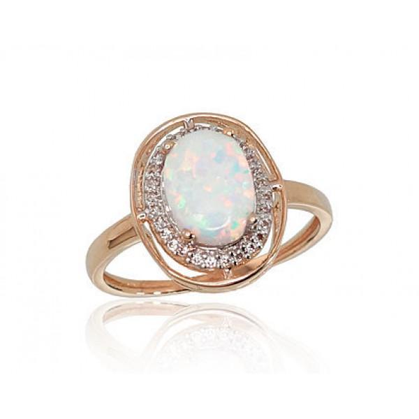 """Zelta gredzens ar opalītu """"Šedevrs II"""" no 585 proves sarkanā zelta"""