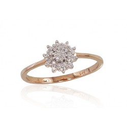 """Zelta gredzens ar briljantiem """"Dimanta Zieds"""" no 585 proves sarkanā zelta"""