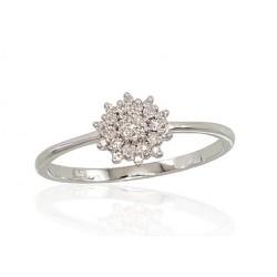 """Zelta gredzens ar briljantiem """"Dimanta Zieds"""" no 585 proves baltā zelta"""