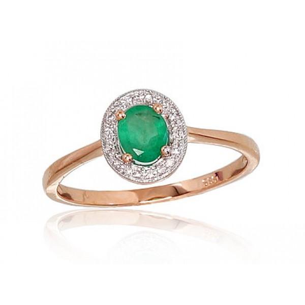 """Zelta gredzens ar briljantiem """"Sofija"""" no 585 proves sarkanā zelta"""