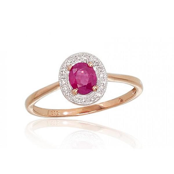 """Zelta gredzens ar briljantiem """"Sofija II"""" no 585 proves sarkanā zelta"""