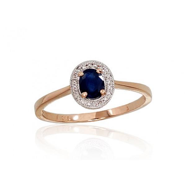 """Zelta gredzens ar briljantiem """"Sofija III"""" no 585 proves sarkanā zelta"""