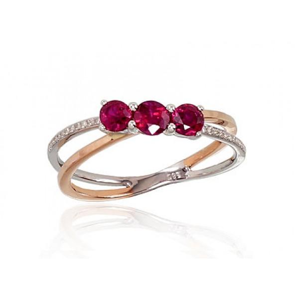 "Zelta gredzens ar briljantiem ""Aleksa II"" no 585 proves sarkanā zelta"
