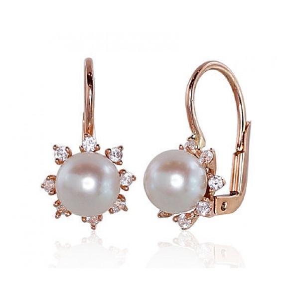 """Zelta auskari ar pērlēm """"Pērļu Spožums X"""" no 585 proves sarkanā zelta"""
