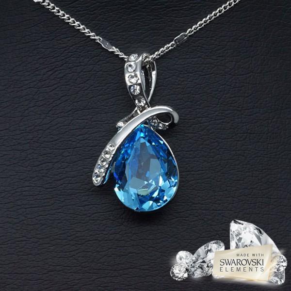 """Kulons """"Lagūna (Aquamarine Blue)"""" ar Swarovski™ kristāliem"""