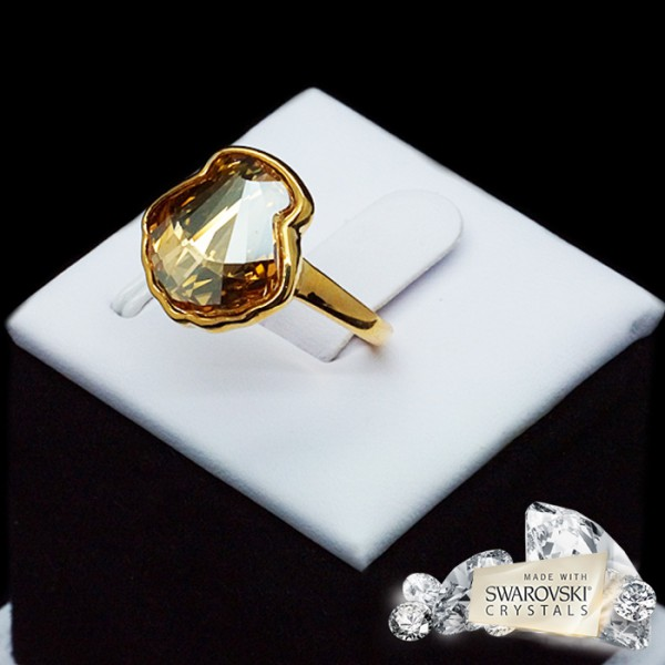 "Gredzens ""Kristalīna (Golden Shadow)"" ar Swarovski™ kristāliem"