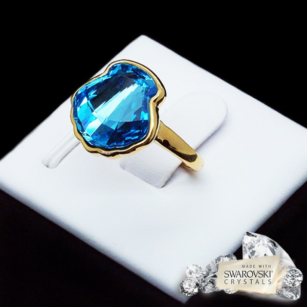 """Gredzens """"Kristalīna (Aquamarine Blue)"""" ar Swarovski™ kristāliem"""