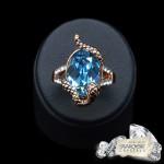 """Gredzens """"Čūska Kārdinātāja (Aquamarine Blue)"""" ar Swarovski™ kristāliem"""