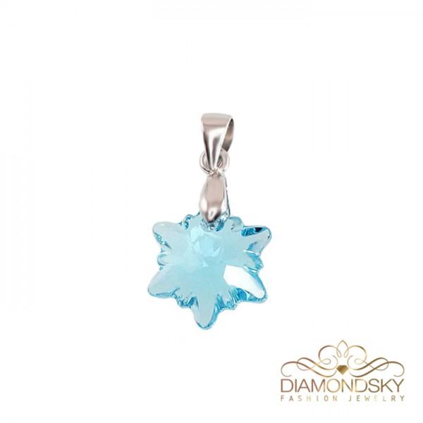 """Kulons """"Kristāla Sniegpārsliņa (Aquamarine Blue)"""" ar Swarovski™ kristāliem"""