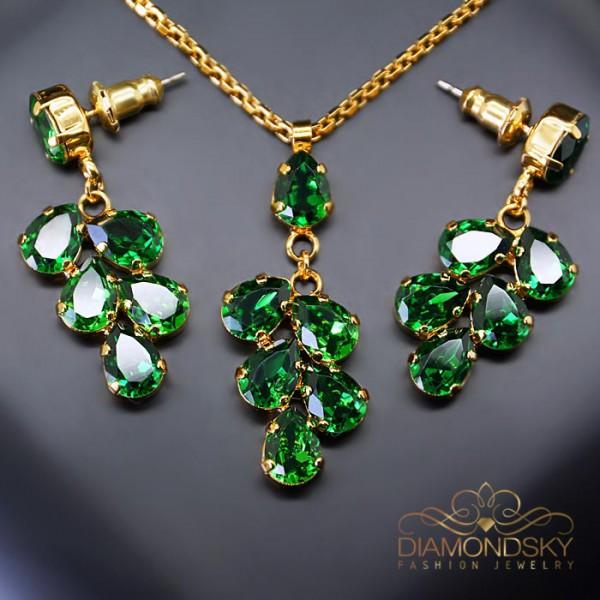 """Komplekts """"Amber II (Dark Moss Green)"""" ar Swarovski™ kristāliem"""