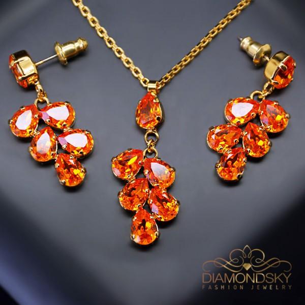 "Komplekts ""Amber II (Tangerine)"" ar Swarovski™ kristāliem"
