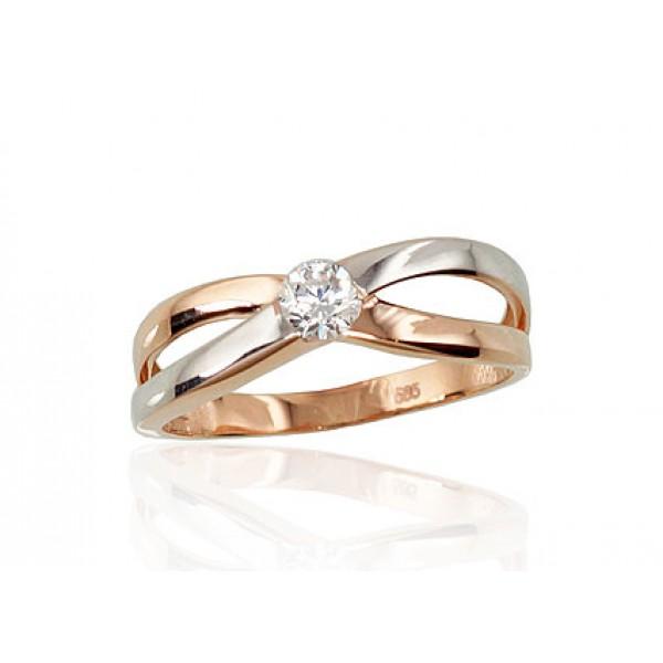 """Zelta gredzens """"Kristāla Horizonts IV"""" no 585 proves sarkanā zelta"""