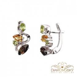 """Sudraba auskari ar dabīgiem akmeņiem """"Indigo II"""" no 925 proves sudraba"""