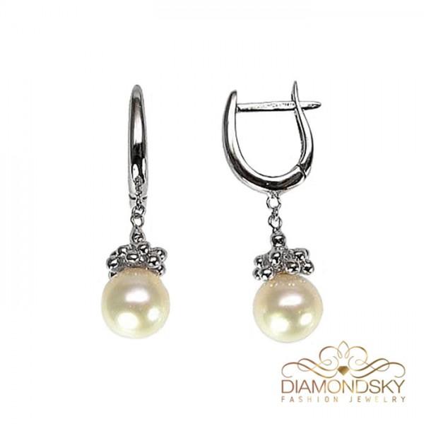 """Zelta auskari ar pērlēm """"Pērļu Spožums VII"""" no 585 proves baltā zelta"""