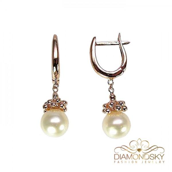 """Zelta auskari ar pērlēm """"Pērļu Spožums IX"""" no 585 proves sarkanā zelta"""