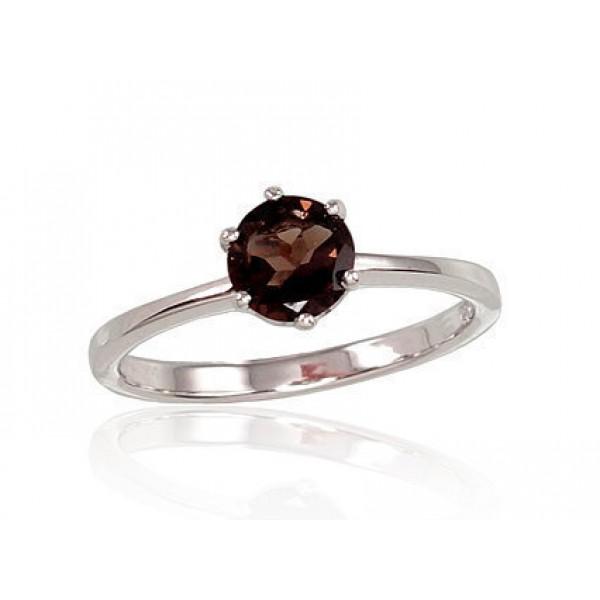 """Sudraba gredzens ar dūmakaino kvarcu """"Jaunā Klasika IX"""" no 925 proves sudraba"""
