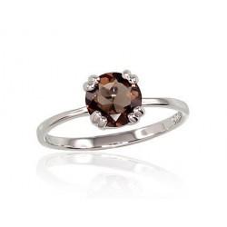 """Sudraba gredzens ar dūmakaino kvarcu """"Jaunā Klasika VII"""" no 925 proves sudraba"""