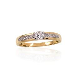 "Zelta gredzens ar briljantiem ""Malori"" no 585 proves dzeltenā zelta"