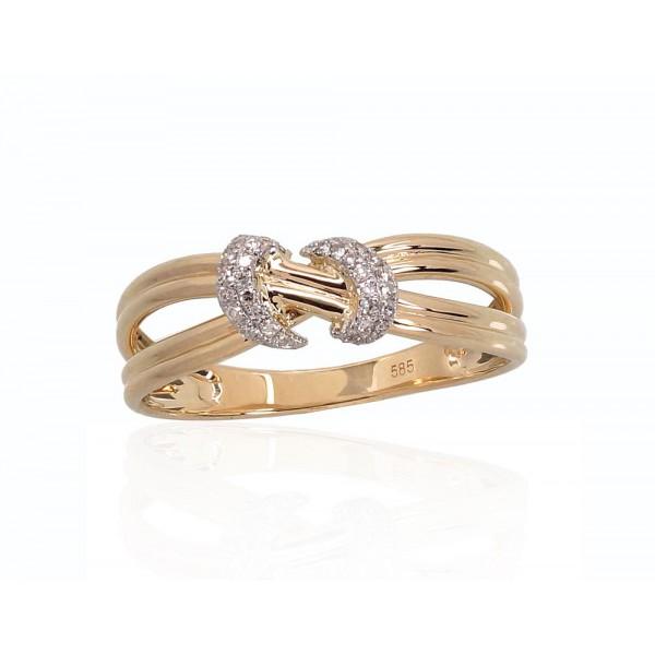 "Zelta gredzens ar briljantiem ""Omega"" no 585 proves dzeltenā zelta"