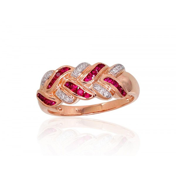 "Zelta gredzens ar briljantiem ""Zelta Raksts XII"" no 585 proves sarkanā zelta"