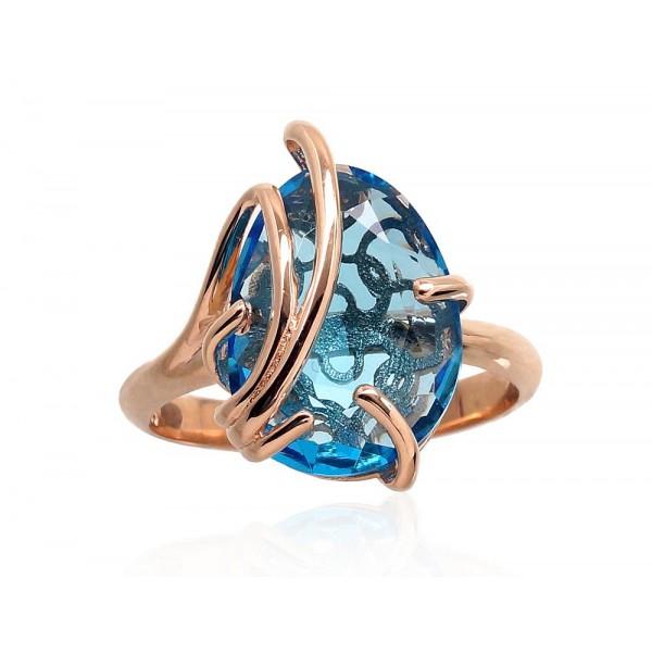 """Zelta gredzens ar topāzu """"Karaliskais Topāzs IV"""" no 585 proves sarkanā zelta"""
