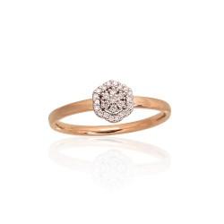 "Zelta gredzens ar briljantiem ""Dimanta Zieds IV"" no 585 proves sarkanā zelta"