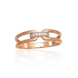 "Zelta gredzens ar briljantiem ""Omega IV"" no 585 proves sarkanā zelta"