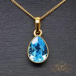 """Sudraba kulons """"Kristāla Lāse (Aquamarine Blue)"""" ar Swarovski™ kristāliem"""