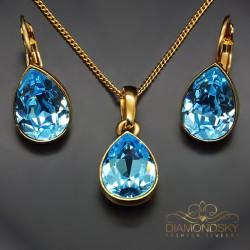 """Sudraba komplekts """"Kristāla Lāse (Aquamarine Blue)"""" ar Swarovski™ kristāliem"""