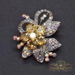"""Broša """"Varavīksnes Zieds II (Golden Shadow)"""" ar Swarovski™ kristāliem"""