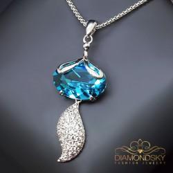 """Kulons """"Zelta Lapsiņa (Aquamarine Blue)"""" ar Swarovski™ kristāliem"""