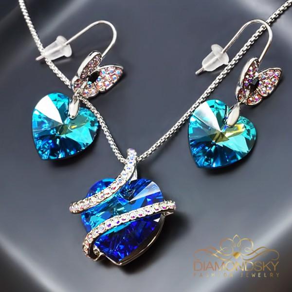 "Komplekts ""Juliette II (Bermuda Blue)"" ar Swarovski™ kristāliem"