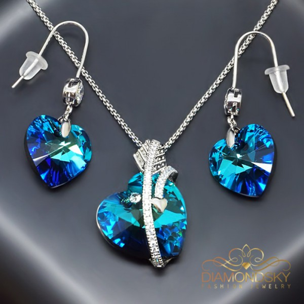 "Komplekts ""Juliette (Bermuda Blue)"" ar Swarovski™ kristāliem"