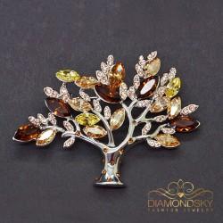 """Broša """"Dzīvības koks"""" ar Swarovski™ kristāliem"""