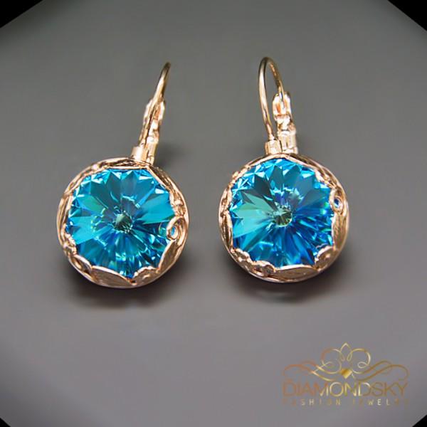 """Auskari """"Saulainais Dārzs (Aquamarine Blue)"""" ar Swarovski™ kristāliem"""