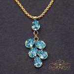 "Kulons ""Amber II (Aquamarine Blue)"" ar Swarovski™ kristāliem"
