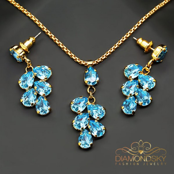 "Komplekts ""Amber II (Aquamarine Blue)"" ar Swarovski™ kristāliem"