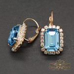 "Auskari ""Lurdes II (Aquamarine Blue)"" ar Swarovski™ kristāliem"