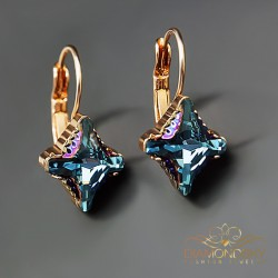 "Auskari ""Kristāla Rombs II (Aquamarine Metallic Blue)"" ar Swarovski™ kristāliem"