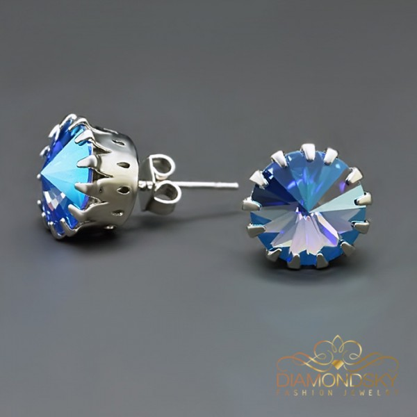 "Auskari ""Vintāžš VII (Light Sapphire Shimmer)"" ar Swarovski™ kristāliem"