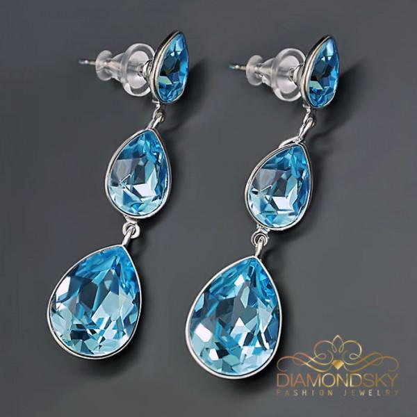 """Auskari """"Šampanieša Lāses (Aquamarine Blue)"""" ar Swarovski™ kristāliem"""