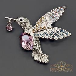 """Broša """"Kolibri II (Antique Pink)"""" ar Swarovski™ kristāliem"""