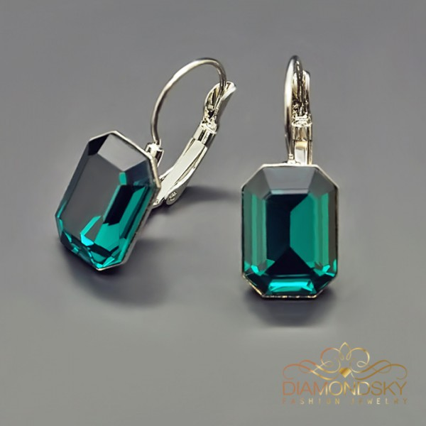 "Auskari ""Lurdes (Emerald)"" ar Swarovski™ kristāliem"