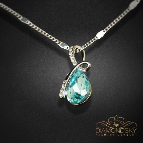 """Kulons """"Lagūna (Light Turquoise)"""" ar Swarovski™ kristāliem"""