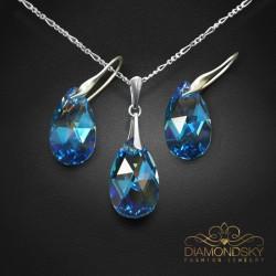 "Sudraba komplekts ""Baroka (Aquamarine Blue AB)"" ar Swarovski™ kristāliem"