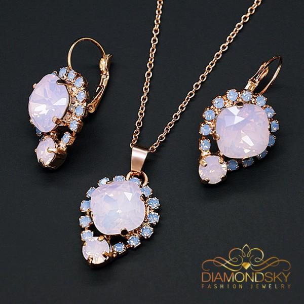 """Komplekts """"Dīva II (Rose Water Opal)"""" ar Swarovski™ kristāliem"""