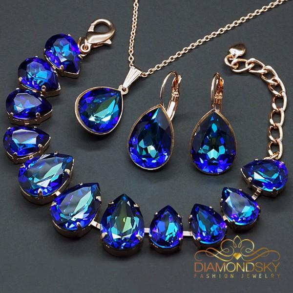 """Komplekts """"Kristāla Lāse II (Bermuda Blue)"""" ar Swarovski™ kristāliem"""